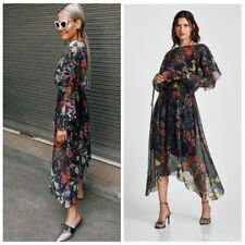 ZARA NEW SS18 FLORAL PRINT ASYMMETRIC PLEATED LONG DRESS SIZE M
