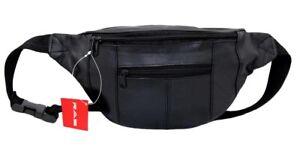 RAS Mens Womens Leather Bum Bag Travel Money Pouch Waist Hip Bag Pouch Passport