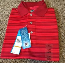 Mens  PGA Tour Poppy Red Stripe Easy Care Short Sleeve S Polo Golf Shirt NWT $50