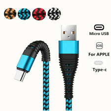 Braided Micro USB Type-C IOS Fast Charger Cable For iPhone 6 7 8 X XS Samsung S9