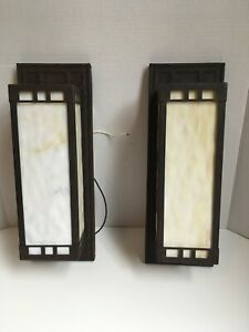 HOT 2 Frank Lloyd Wright Style Wall Sconce Shade Glass Indoor Outdoor Stained Li