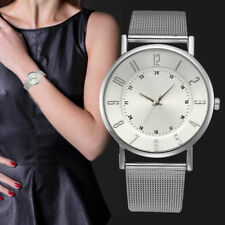 Damen Mode Simple Classic Geneva Edelstahl Alloy Band Quarz Analog Armbanduhr