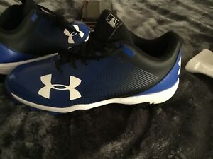 New Under Armour Blue White Cleats Youth Boys Size 3.5