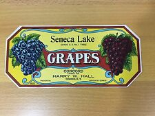 Vintage Grape Box Label Seneca Lake Concord Himrod NY Finger Lakes Wine Picking