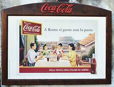 N°5742s ORIGINALE QUADRO PANNELLO INSEGNA COCA COLA PUBBLICITARIO ROMA IN LEGNO