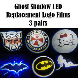 3x Pair Ghost Shadow LED Projector Light Door Logo film replacement