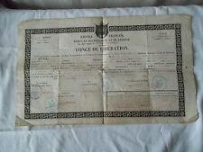 Document congé de libération militaire 1860   Vacation of military 1860