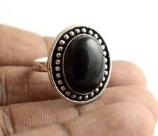 Black Onyx Gemstone Handmade 925 Sterling Silver Plated Adjustable Size Ring