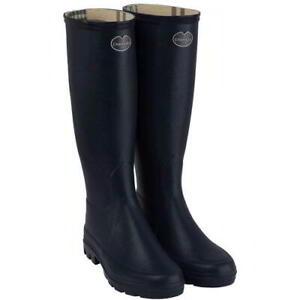 Le Chameau Iris Womens Ladies Black Tall Wellington Boots Wellies Size 4-8