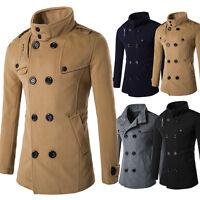 Mens Winter Warm Double Breasted Woolen Overcoat Trench Long Coat Jacket Outwear