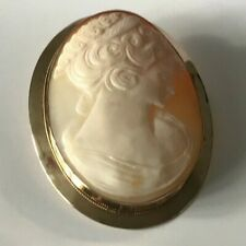 9ct Gold Large Cameo Brooch Ladies Head