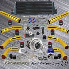 """GOLD 8PC 2.5"""" PIPING T3/T4 .57A/R DIY TURBO KIT 4 CYLINDER ENGINE QUICK RESPOND"""