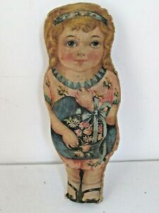 Antique Cloth Little Girl Doll with Flowers Arnold Print Works  Unusual Version