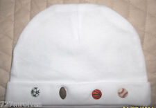 Solid White Gerber Cotton Knit Cap w/ Sports Theme 0-6 mos Unisex