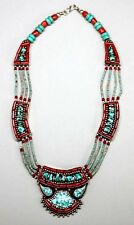 """14"""" Nepal Silver Choker Necklace Turquoise & Coral Beads w Mosaic Pendant"""