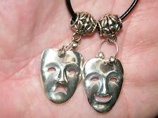 """Thespian Masks Choker ACTORS Drama Necklace Tragedy Comedy Faces 18"""" - 20"""" NEW"""