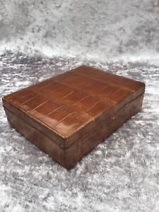 RARE ANTIQUE LEATHER CROCODILE JEWELLERY / RING BOX