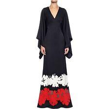Alexander McQueen Noir Satin Kimono manches robe longue, IT40 (UK 10), RRP £ 2985