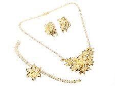 Vintage Czech floral necklace bracelet earrings jewelry set rhinestones