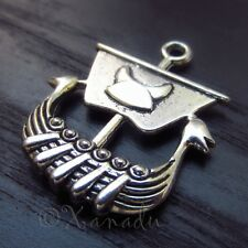 Viking Warship Antiqued Silver Plated Wholesale Pendant Charms 2PCs - C1054