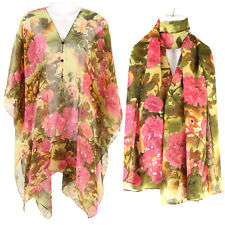 Kaftan Tunic Dress Wing Tops Batwing Scarf Scraves Beach Cover Up Flower ts03t