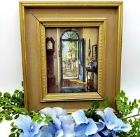 "Vintage ""Garden Door"" MINIATURE Art Picture 6.5"" X 7.5"" Gold Gilt Frame Romantic"