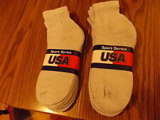 MENS SOCKS GRAY ANKLE FREE SHIPPING USA SZ 10-13 6 PAIR MADE IN USA