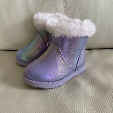 CAT & JACK PURPLE IRIDESCENT SHEARLING BOOTS TODDLER SIZE 5 5T