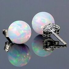 Women 925 Silver Fire Opal Bead Ball Ear Stud Earrings Jewelry Xmas Gift 6mm