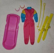 Vintage Barbie 80s Skiing Jumpsuit Skies Sled Boots Set Lot