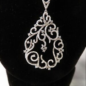 3ct Pave Diamond 14K White Gold Swirl Pear Drop Pendant Solid 20 inch Gold Chain