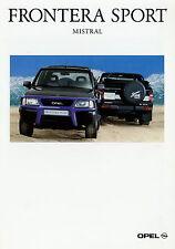 Prospekt 1995 Opel Frontera Sport Mistral Autoprospekt 5 95 Geländewagen Pkw