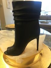 Halston Heritage ruched black leather peeptoe booties. Never worn brand new.CUTE