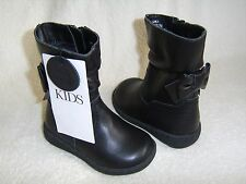 M&S Kids Black Leather Zipped Boots Toddler Size 4 Eur 20.5 BRAND NEW WITH TAGS