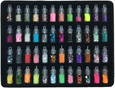 48 Glass Bottle Gems Nail Sequins Art Glitter Stars Beads Manicure Decoration