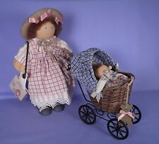 Lizzie High Rebecca Bowman and Baby Brother 1989 Wood Doll with Cute Carriage