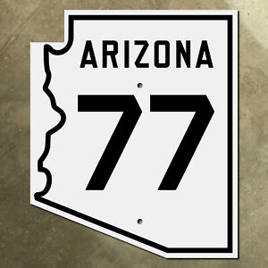 Arizona state route 77 highway marker road sign 1940s Holbrook Tucson