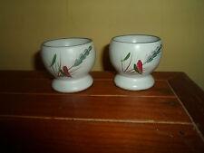 2 Gorgeous Vintage Retro Wheatsheaf Denby Style Egg Cups Excellent Condition
