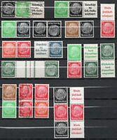 Briefmarken DR, Hindenburg Zusammendrucke, Ungebraucht und Gestempelt
