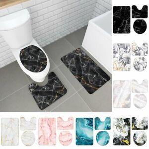3Pcs Marble Print Non-Slip Set Pedestal Rug Toilet Lid Cover Bath Mat Bathroom