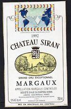 MARGAUX GCE VIEILLE ETIQUETTE CHATEAU SIRAN 1992 DECOREE  §17/11/16§