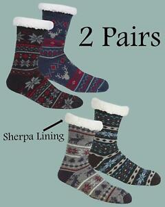 Fairisle Chunky Knitted Sherpa Lined Lounge Bed Slipper Socks (2 PAIRS)