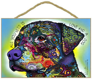 """All You Need is Love and a Dog Rottweiler Sign 7"""" x 10.5"""" plaque Dean Russo"""