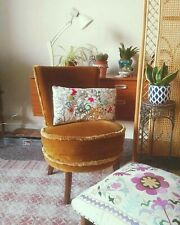 Mid Century Boho Retro 70s Crushed Velvet Mustard Accent Vintage Cocktail Chair