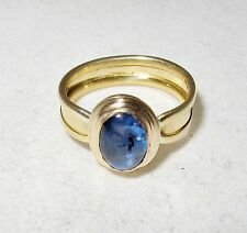 18K Yellow Gold Ring with 8.25mm Cabochon Cut Blue Sapphire  (3.5g, Size 5)