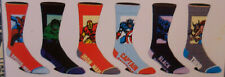 Marvel Comics NEW 6 Pair CREW SOCKS SIZE 8-12 Spiderman Hulk Captain America