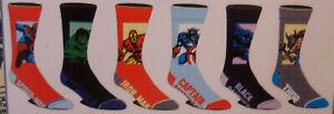 Marvel Comics NEW 6 Pair CREW SOCKS SIZE 8-12 Spiderman Hulk Captain America