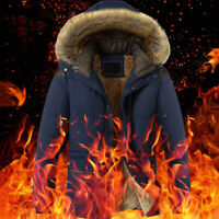 Winter Men's Duck Down Jacket Warm Thick Fur Collar Outerwear Hooded Coat Parka