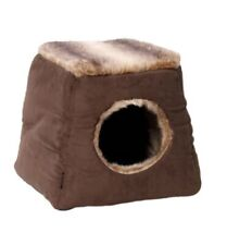 2 In 1 House Of Paws Brown Faux Suede & Fur Cat Cube Small Dog Bed Pet Cushions
