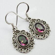 "92.5% Pure Silver Beautiful MYSTIC TOPAZ Jewel EXTRA ORDINARY Earrings 1.3"""